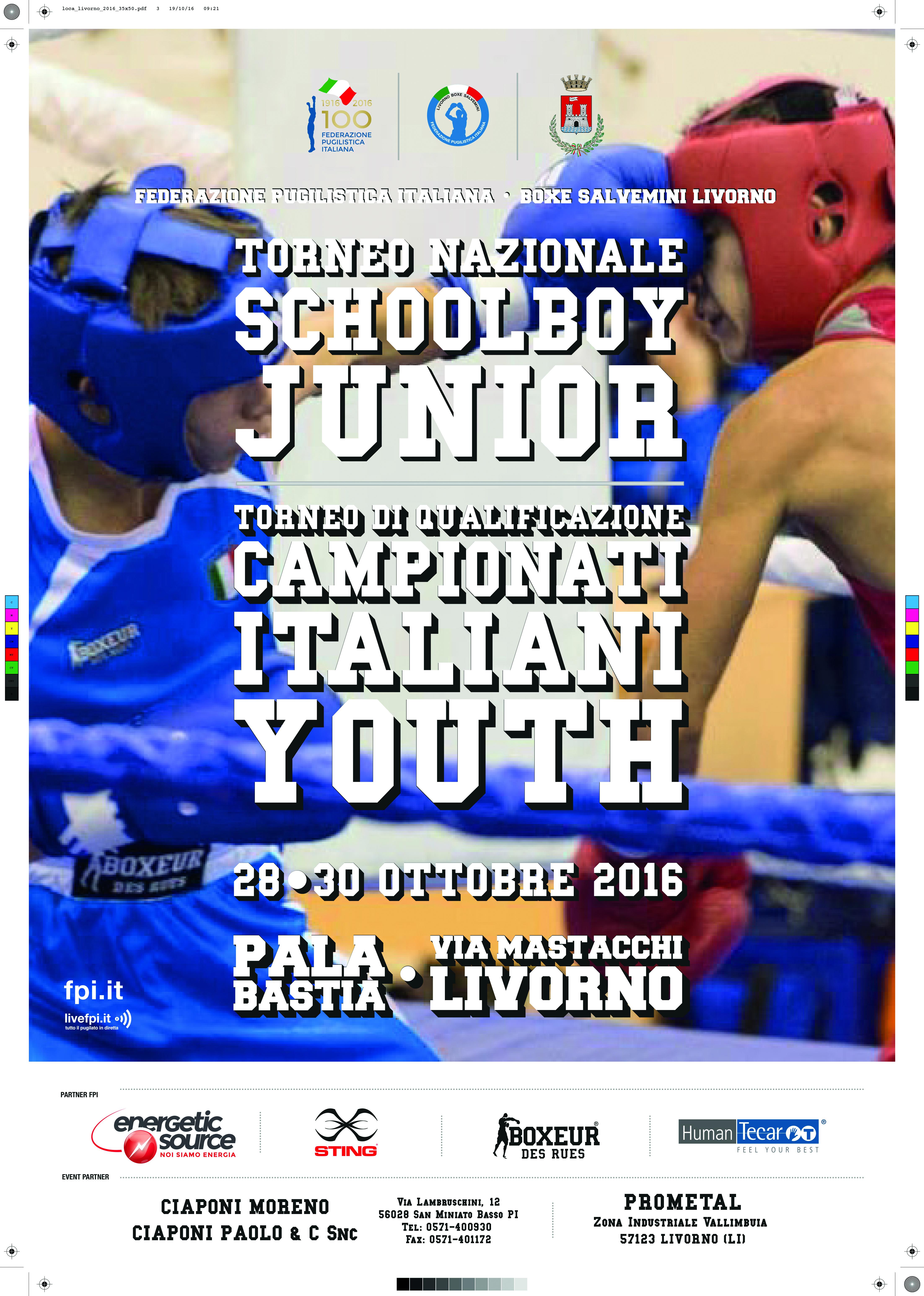 Torneo Nazionale SchoolBoy/Junior e il Torneo di Qual. Campionati Nazionali Youth 2016
