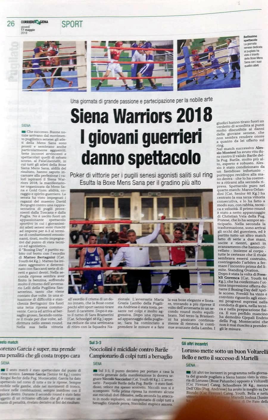 Corriere di Siena 17/05/2018