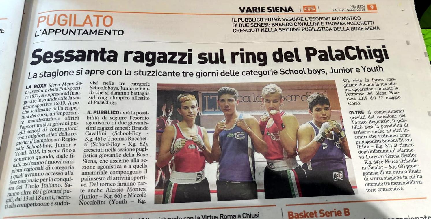 La Nazione di Siena: Venerdì 14/09/2018